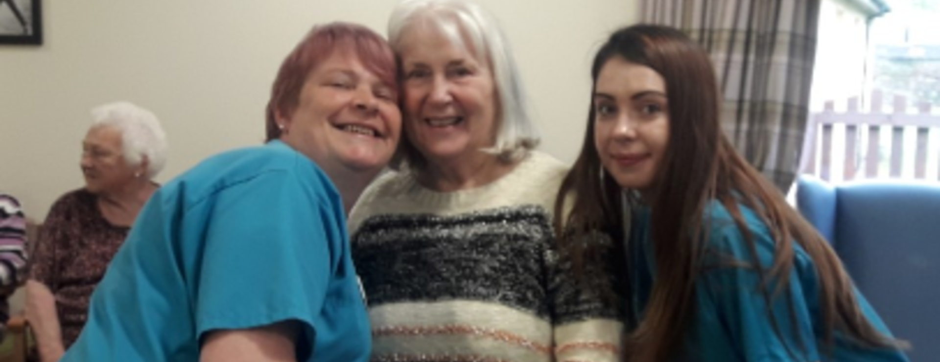 Sandra making friends with Nikki Auer and Jamie-Lee our carers
