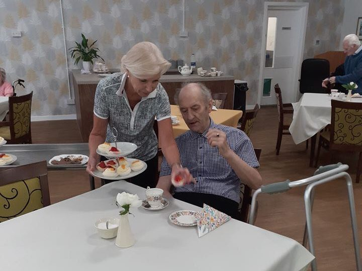 Residents at North Inch North Grove enjoy afternoon tea in newly refurbished dining room