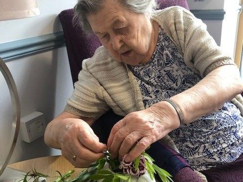 Residents have been flower arranging and enjoying the sunshine at Coupar Angus