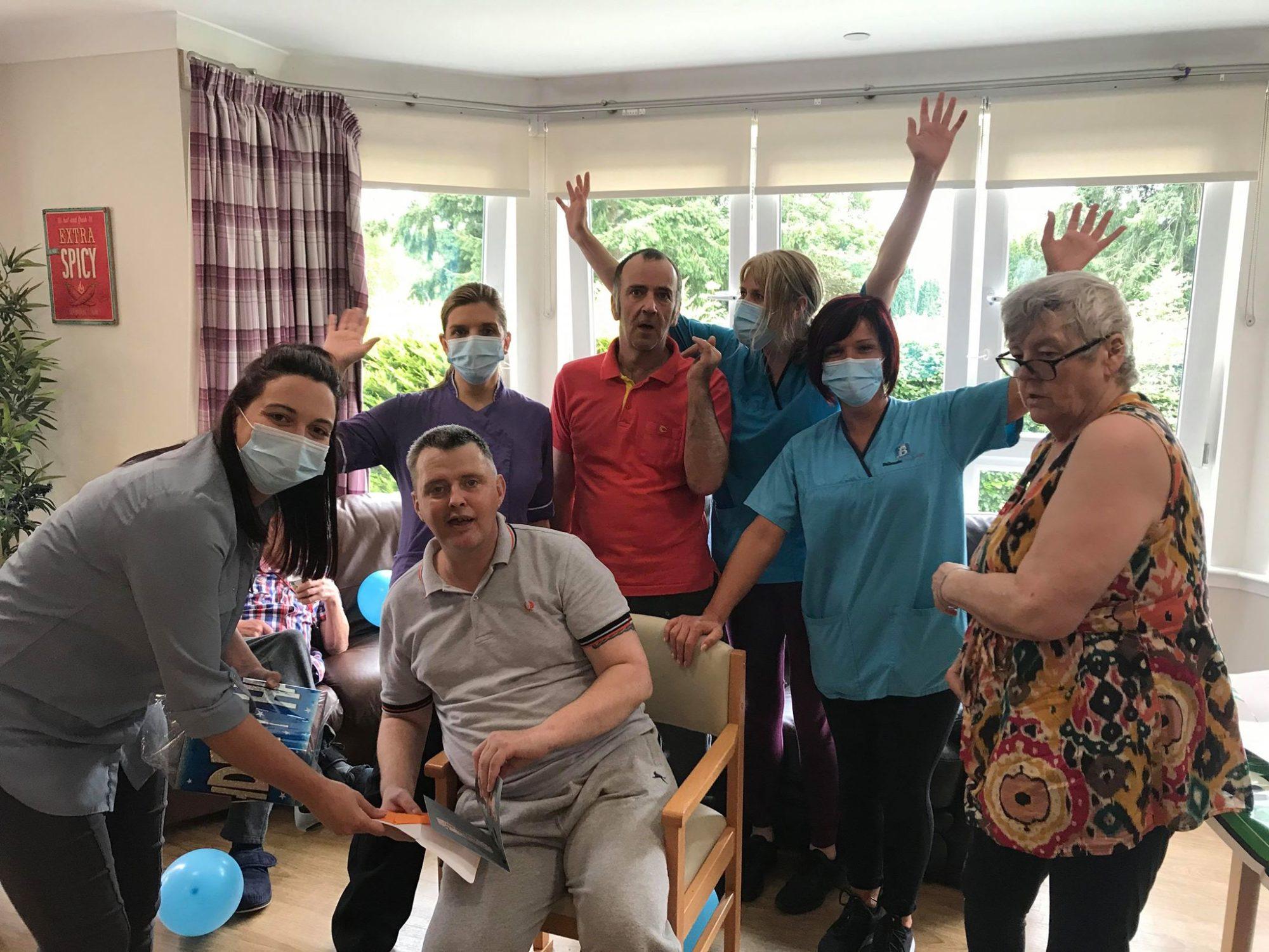 Rumbling Bridge throw a party for service user Gavin's birthday