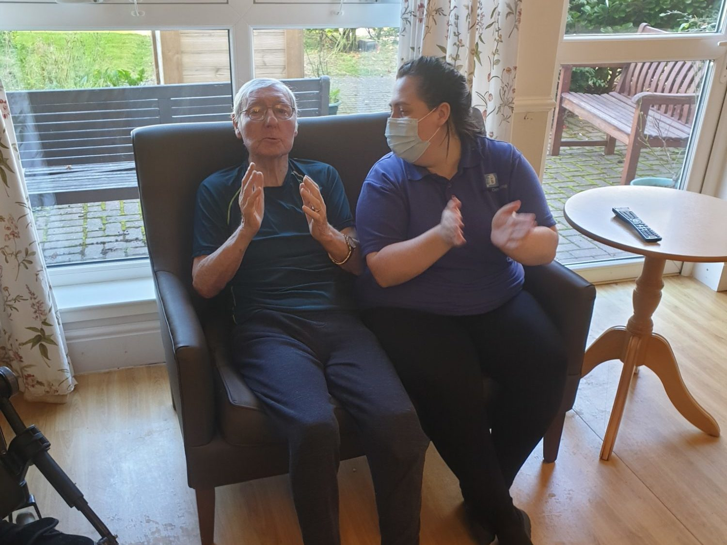 Residents enjoy a sing-along and dancing at Forth View