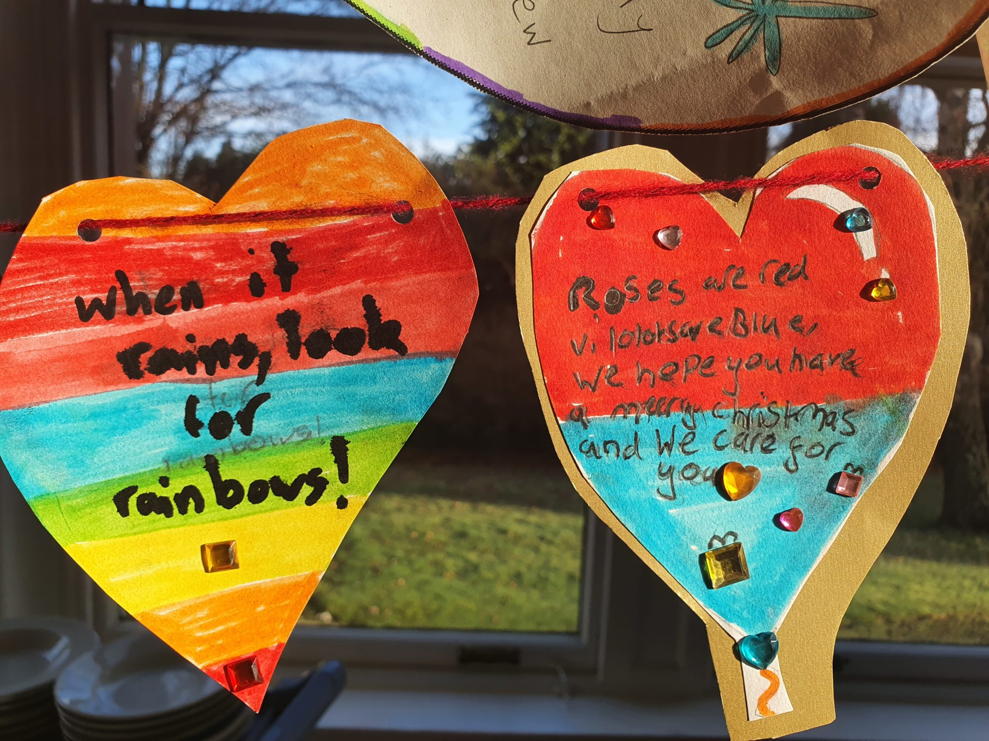 Hearts, rainbows and uplifting messages as primary school children send good wishes to care home residents
