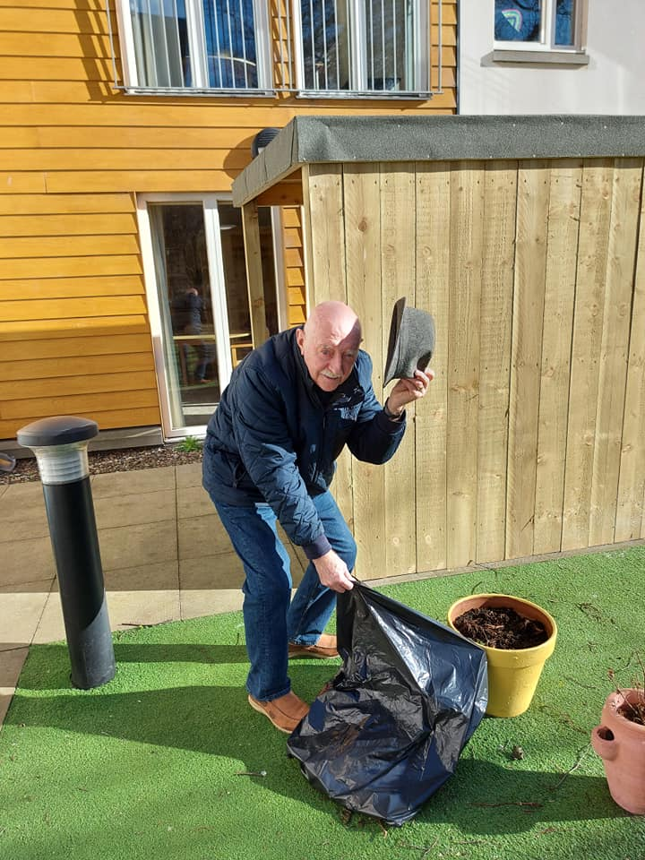 Clement Park resident Bill in his element helping in the garden