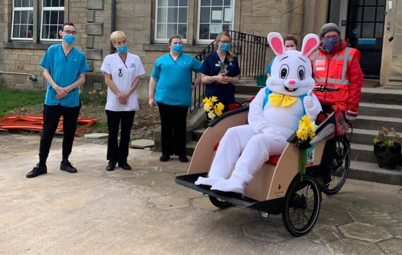 The Easter Bunny arrives at Balhousie Wheatlands… by trishaw!