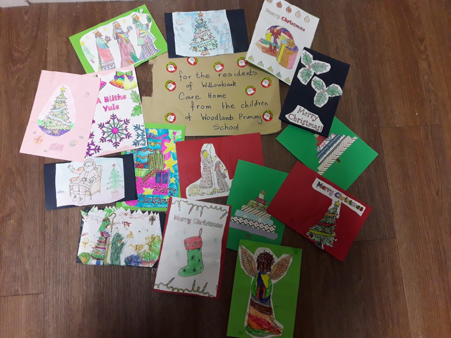 Local school children make Christmas cards for Willowbank residents